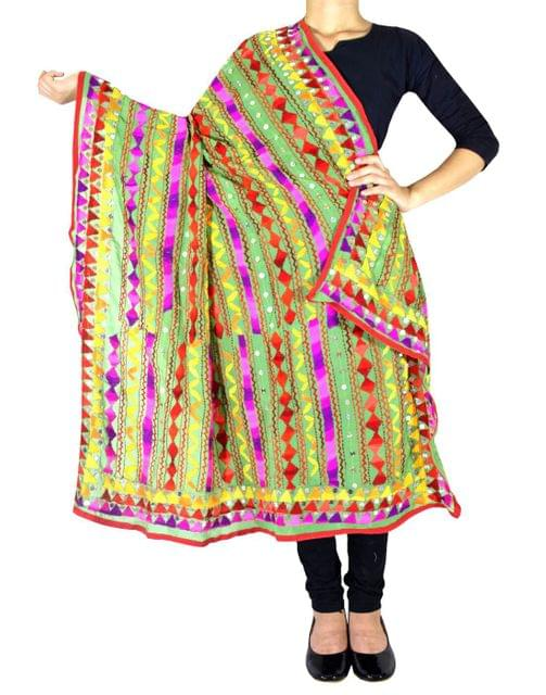 Heavy Georgette Hand Embroidered Dupatta- Light Green