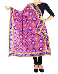 Heavy Georgette Hand Embroidered Dupatta-Pink