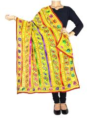 Heavy Georgette Hand Embroidered Dupatta- Yellow