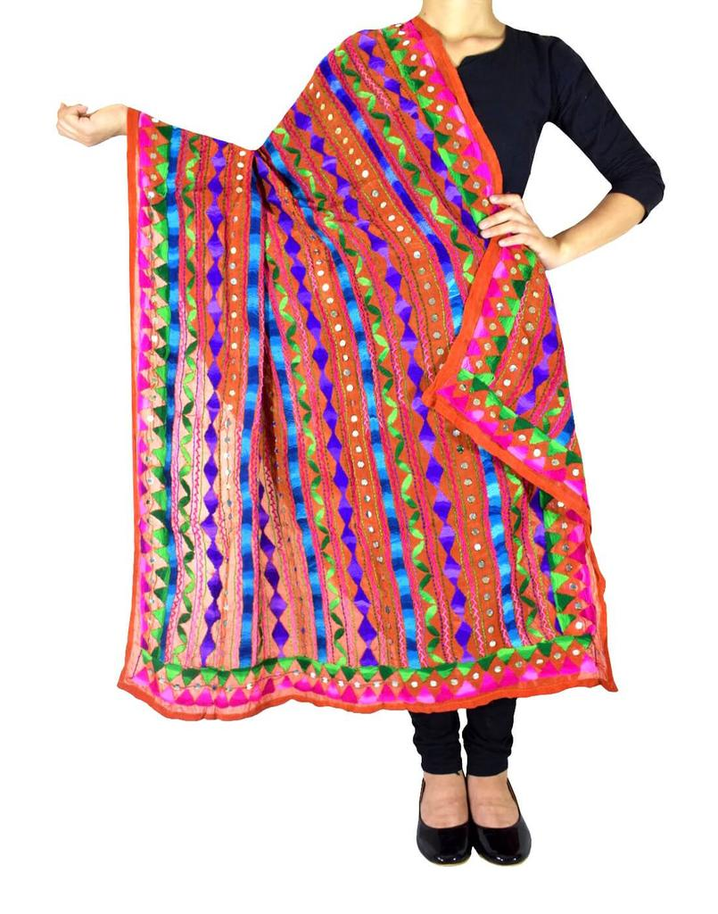 Heavy Georgette Hand Embroidered Dupatta- Red
