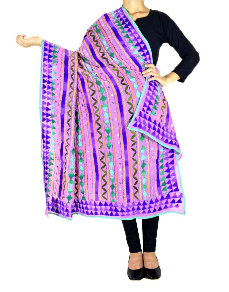 Heavy Georgette Hand Embroidered Dupatta- Light Mauve