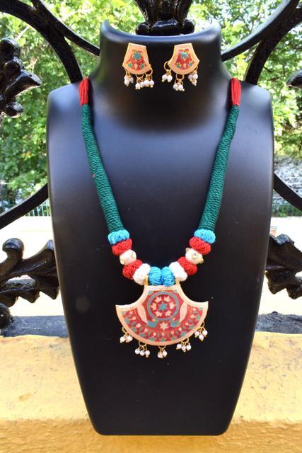 Threaded Meenakari Necklace Set- Pattern 14
