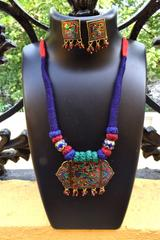 Threaded Meenakari Necklace Set- Pattern 15