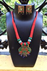 Threaded Meenakari Necklace Set- Pattern 16
