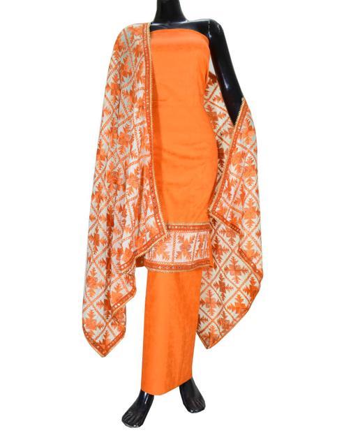 Handembroidered Phulkari Suit in Cotton Silk- Orange