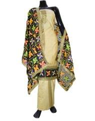 Handembroidered Phulkari Suit in Chanderi Cotton Silk- Beige&Black