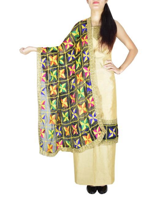 Handembroidered Phulkari Suit in Chanderi Cotton Silk- Beige&Black
