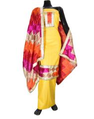Handembroidered Phulkari Suit in Cotton Silk- Yellow