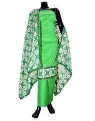 Handembroidered Phulkari Suit in Cotton Silk- Green
