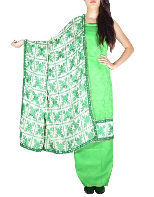 Handembroidered Phulkari Suit in Cotton Silk- Green
