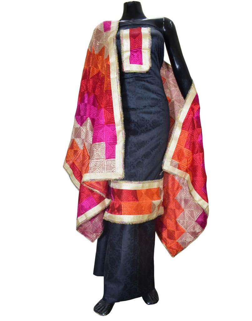 Handembroidered Phulkari Suit in Cotton Silk- Black