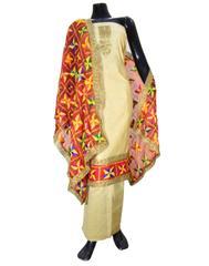 Handembroidered Phulkari Suit in Chanderi Cotton Silk- Beige&Red