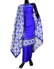 Handembroidered Phulkari Suit in Cotton Silk- Blue
