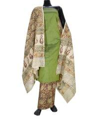 Kalamkari Block Print Cotton Suit-Green