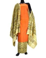 Kalamkari Block Print Cotton Suit-Orange