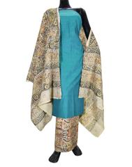 Kalamkari Block Print Cotton Suit-Sea Green