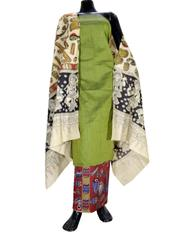 Kalamkari Block Print Cotton Suit-Green 1
