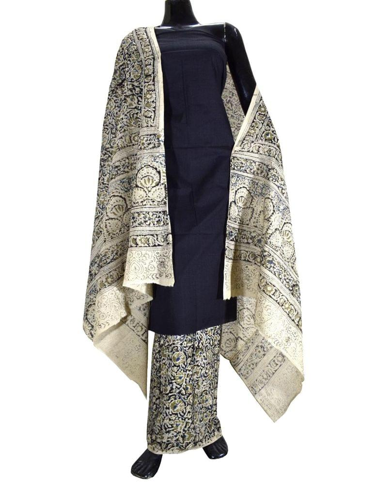 Kalamkari Block Print Cotton Suit-Black