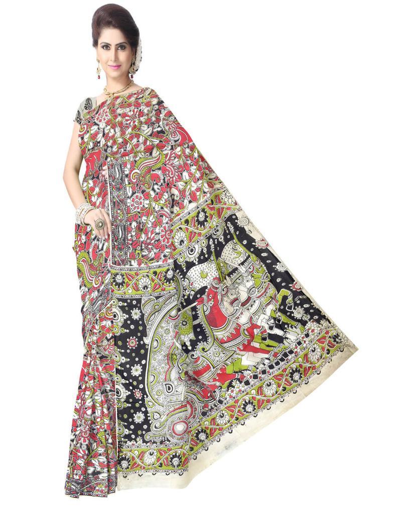Kalamkari Saree in Silk -Multicolor 1