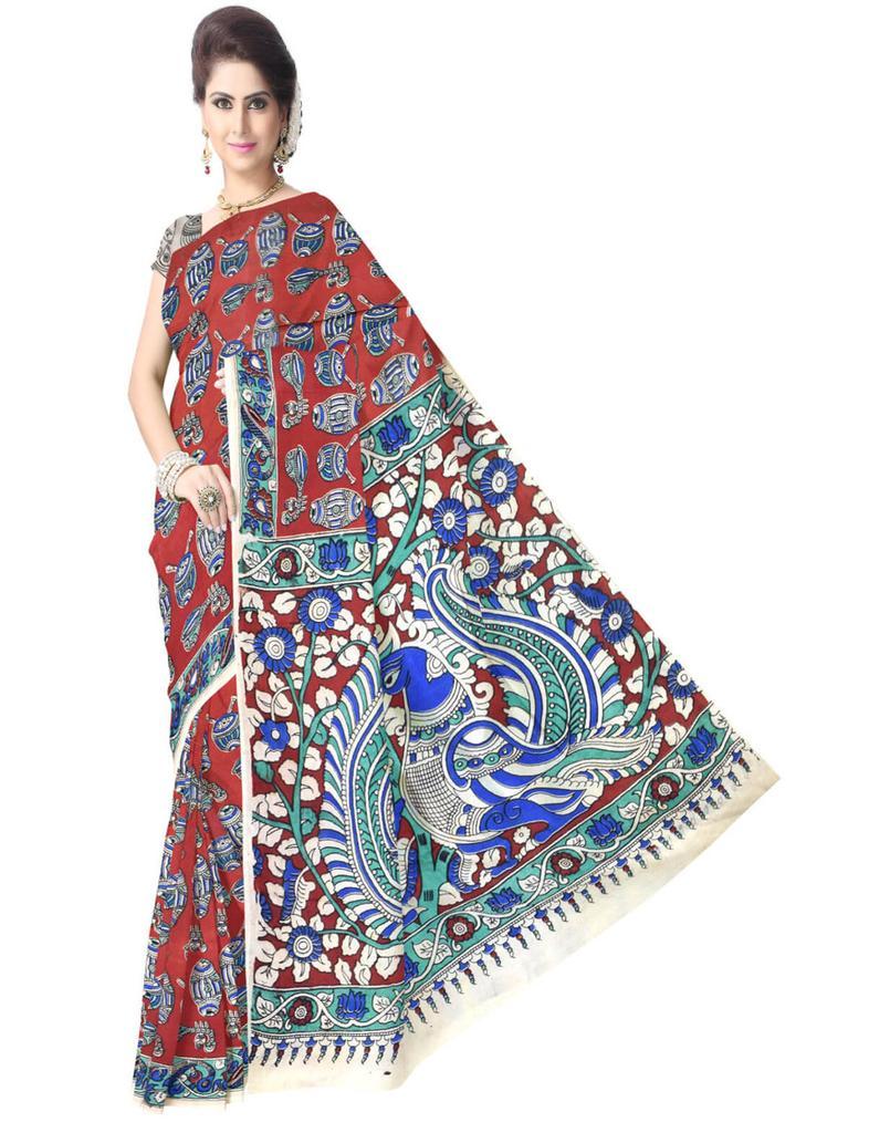 Kalamkari Saree in Silk -Red&Blue