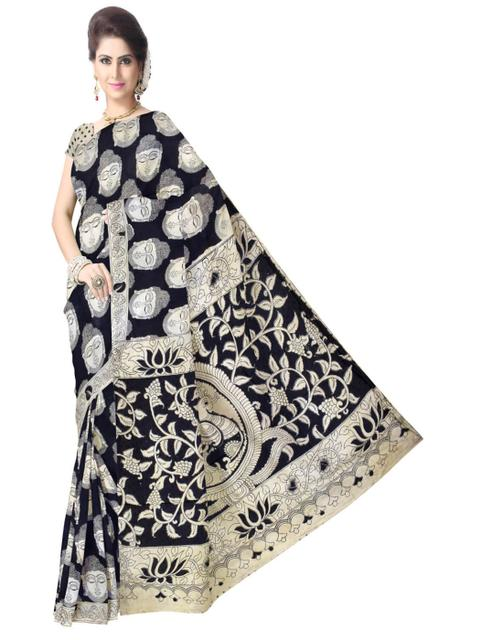 Kalamkari Saree in Silk -Black&White 1