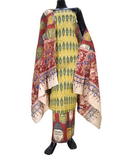 Ikat & Kalamkari Block Print Cotton Suit-Mehendi Green