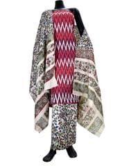 Ikat & Kalamkari Block Print Cotton Suit-Maroon 2