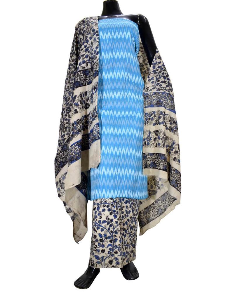 Ikat & Kalamkari Block Print Cotton Suit-Turquoise
