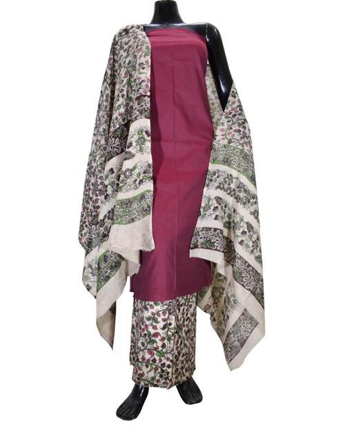 Kalamkari Block Print Cotton Suit-Dark Maroon 1