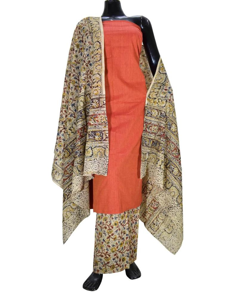 Kalamkari Block Print Cotton Suit-Orange 1