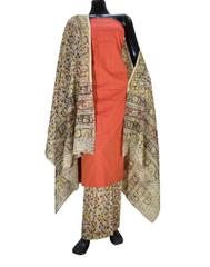 Kalamkari Block Print Cotton Suit-Orange 1