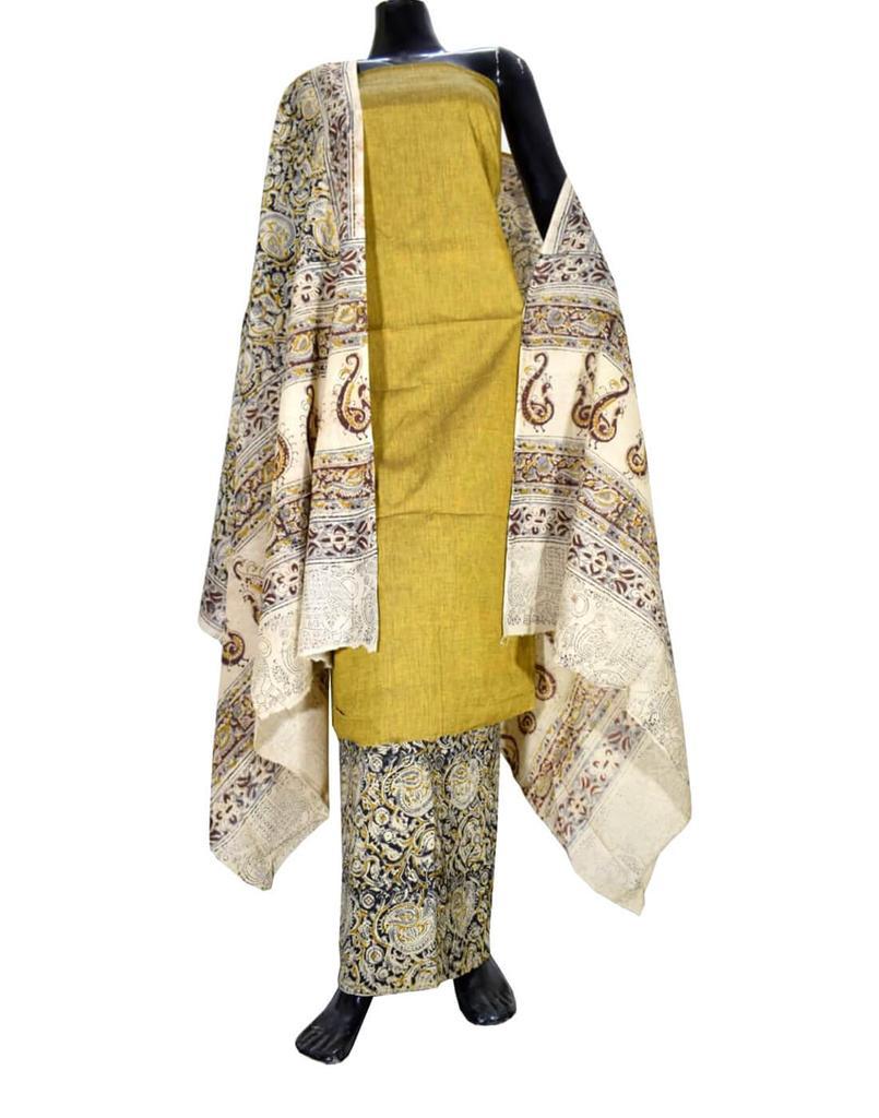 Kalamkari Block Print Cotton Suit-Mustard Yellow 1