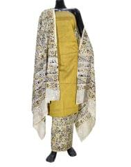 Kalamkari Block Print Cotton Suit-Mustard Yellow