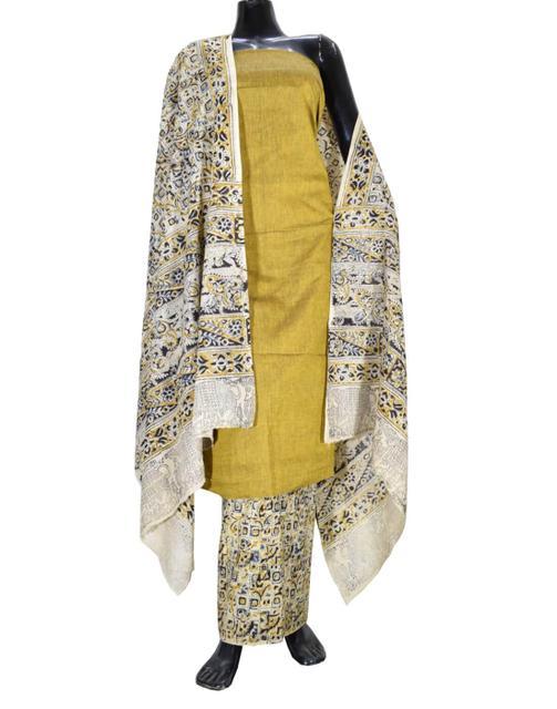 Kalamkari Block Print Cotton Suit-Mustard Yellow