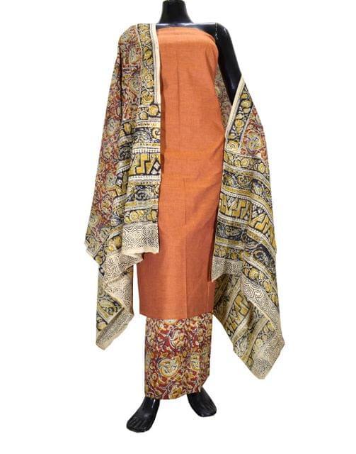 Kalamkari Block Print Cotton Suit-Rust