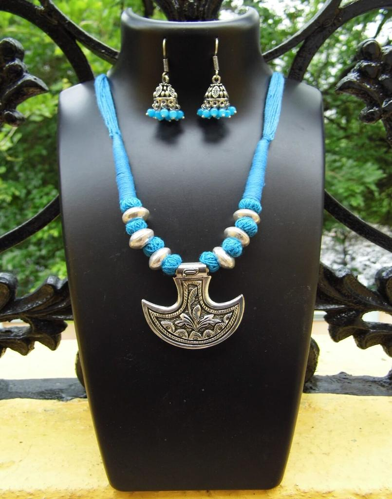 Threaded German Silver Necklace Set With Anchor Shape Pendant-Turquoise