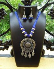 Threaded German Silver Necklace Set -Blue 1
