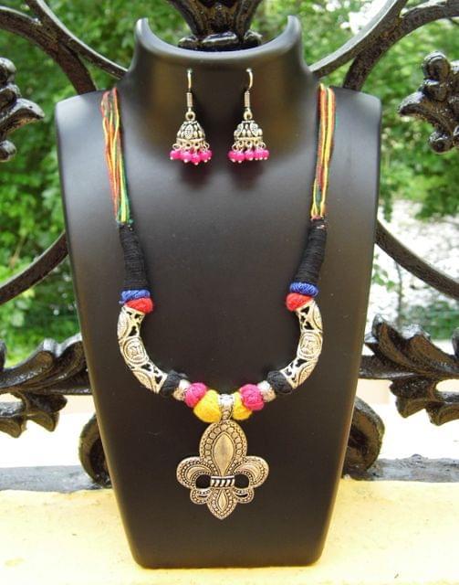 Threaded German Silver Hansuli Necklace Set -Multicolor