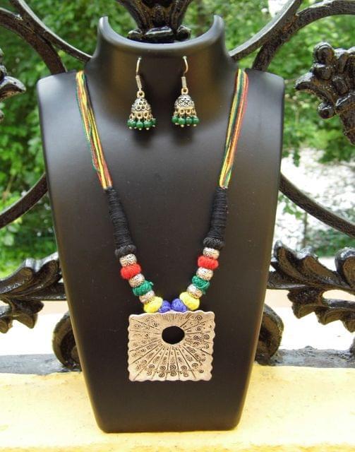 Threaded German Silver Necklace Set -Multicolor