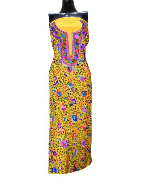 Unstitched Georgette Champa Work Kurta -Yellow