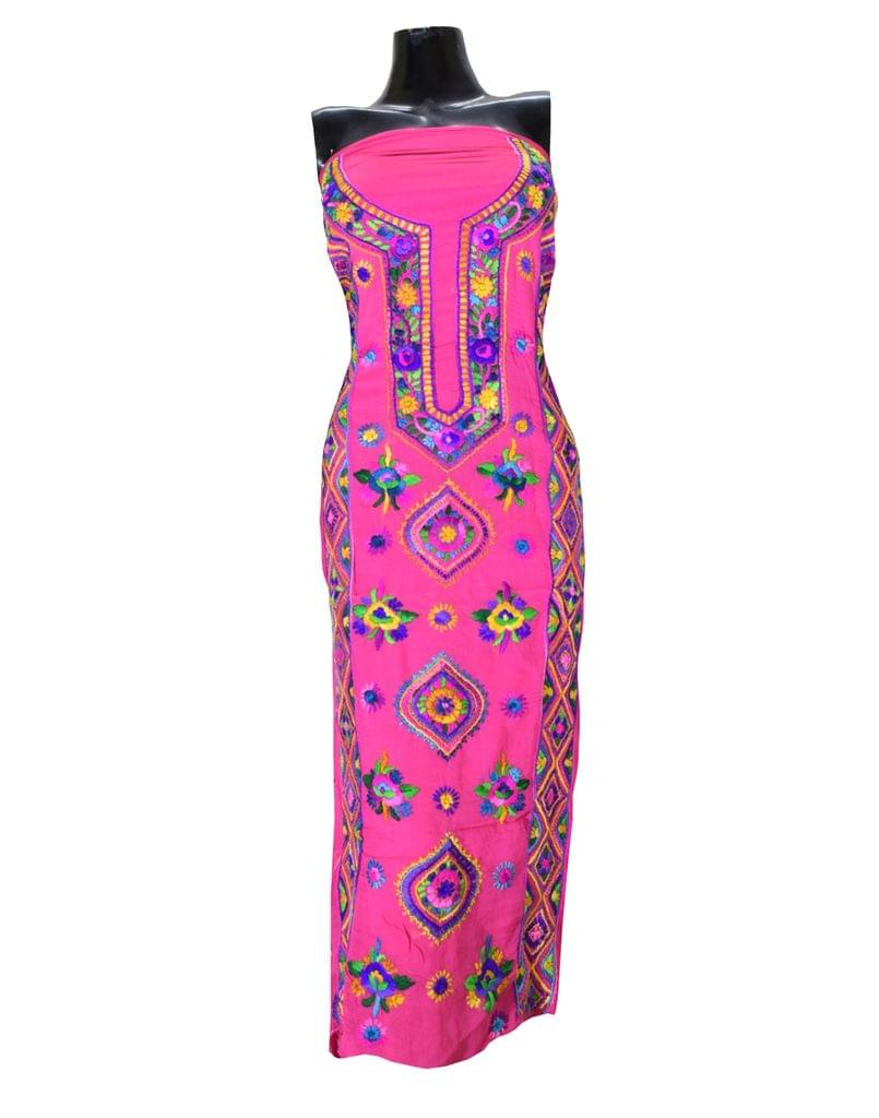 Unstitched Georgette Champa Work Kurta -Pink