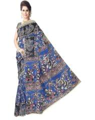 Kalamkari Saree in Cotton-Blue&Black