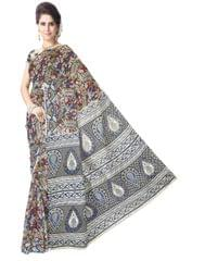 Kalamkari Saree in Cotton-Multicolor 5