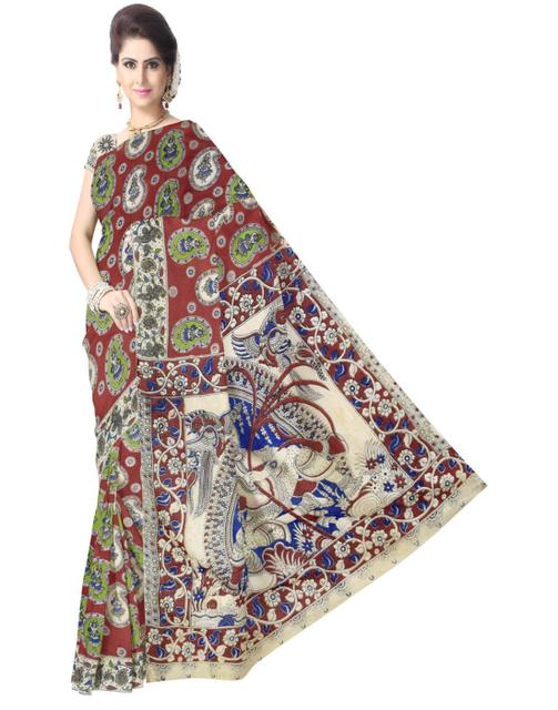 Kalamkari Saree in Cotton-Multicolor 4