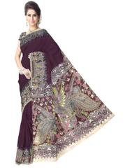 Kalamkari Saree in Cotton-Dark Maroon