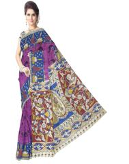 Kalamkari Saree in Cotton-Purple