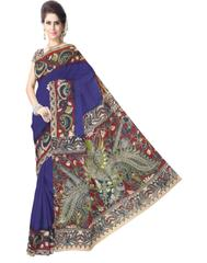 Kalamkari Saree in Cotton-Blue 1