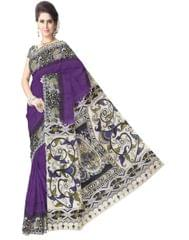 Kalamkari Saree in Cotton-Purple 1