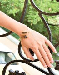 Brass Bangle with Stone&Leaf Pattern- Purple Stone