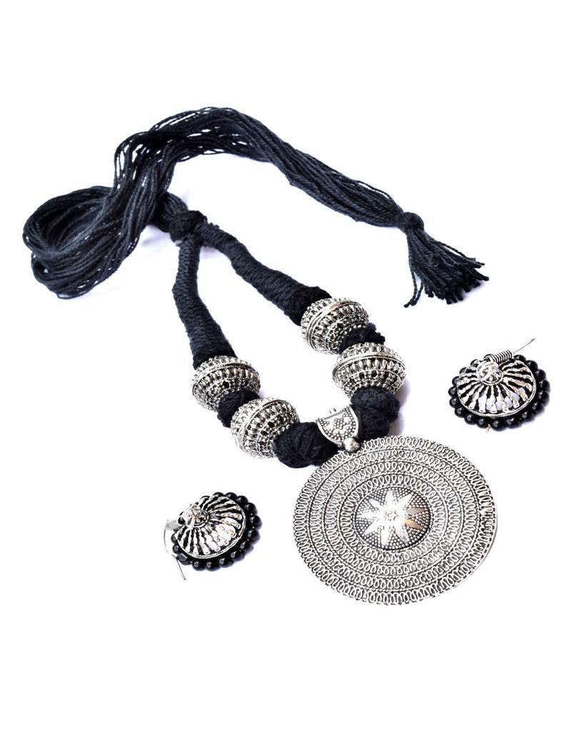 Threaded German Silver Necklace Set -Black
